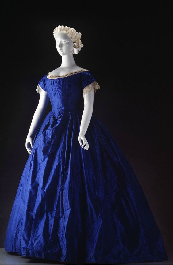 Evening Gown: ca. 1848, Australian, silk, lace. - I will believe she met the Doctor and was inspired to have this dress made.