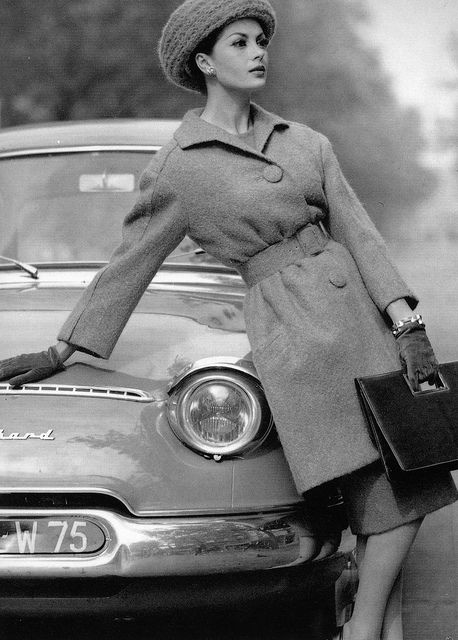 Jean Newington is wearing 7/8 length belted wool coat by Crahay for Nina Ricci, Winter 1959, photo by Philippe Pottier. | Flickr - Photo Sharing!