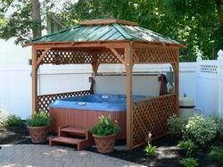 Several different hot tub shelter spa enclosures hot for Hot tub shelter plans