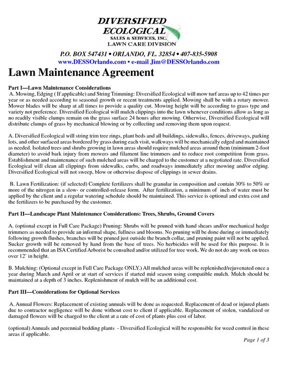 Maintenance Contract Agreement by mie20532 - lawn maintenance - maintenance agreement