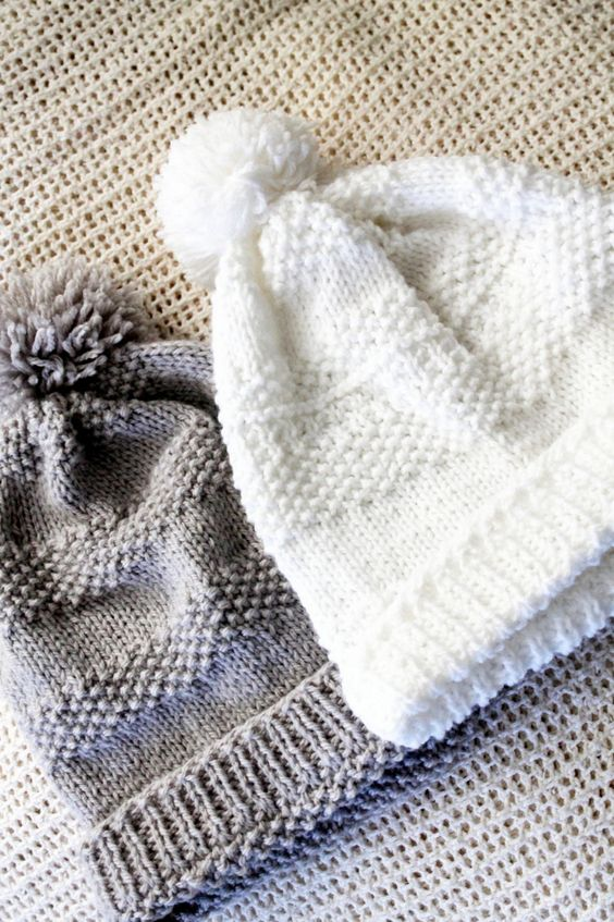 Pompom Knitted Hat - free pattern @ just white cotton