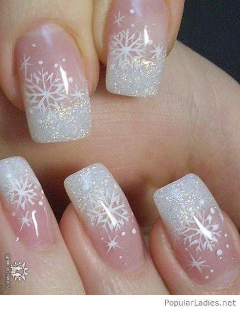 White Glitter Tips With Snow Print Christmas Nails Acrylic Xmas