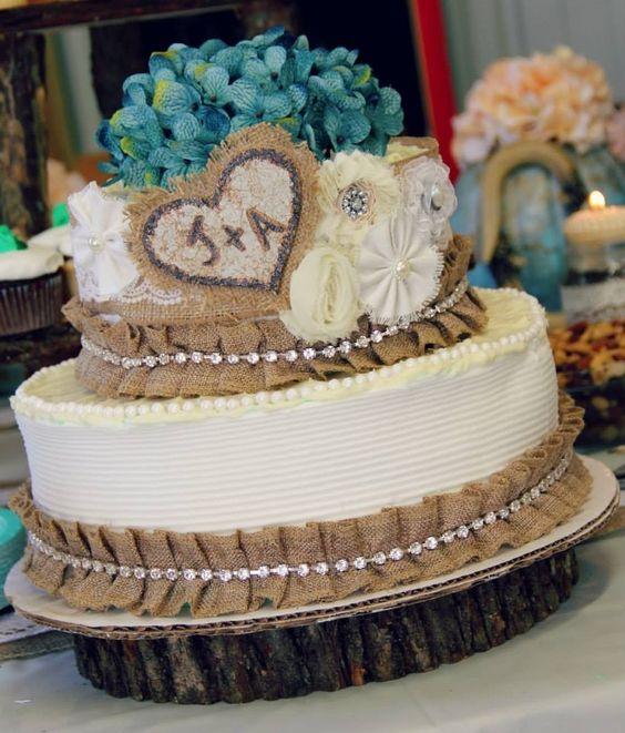 campagne gâteaux de mariage campagne toile de jute gâteaux mariage ...