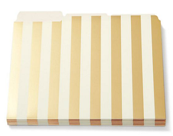 love these gold striped file folders