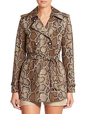 MICHAEL MICHAEL KORS Snakeskin-Print Belted Jacket