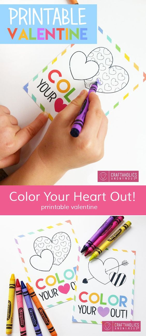 Kids can color in these Valentine's prints for fun or as cards - free printables to keep your children busy!