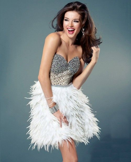 Feather dress- White feathers and Cocktail party dresses on Pinterest