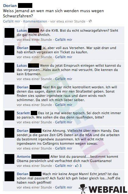 Paranoid - Facebook Fail des Tages 04.09.2013