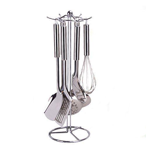 360 Degree Rotating Stainless Steel Countertop Kitchen Utensil Holder Stand With 6 Hooks For Stainless Steel Countertops Kitchen Utensil Holder Utensil Holder