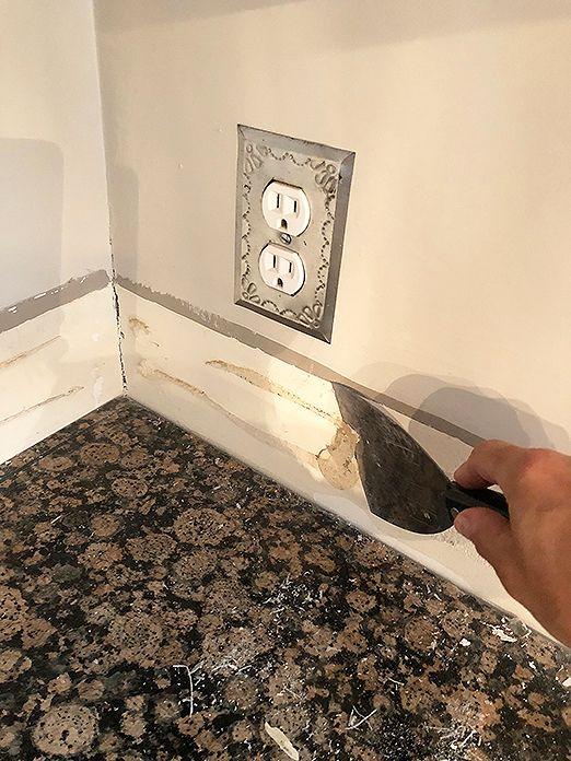 How To Remove A Granite Backsplash Install Sticktiles In 2021 Granite Backsplash Backsplash Granite Tile Countertops