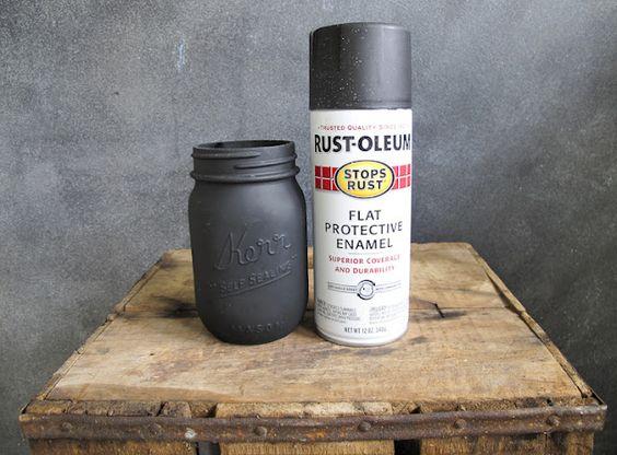 Matte Black Spray Painting And Mason Jars On Pinterest