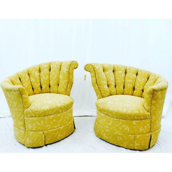 Image of Art Deco Tufted Swirl & Slope Club Chairs - A Pair