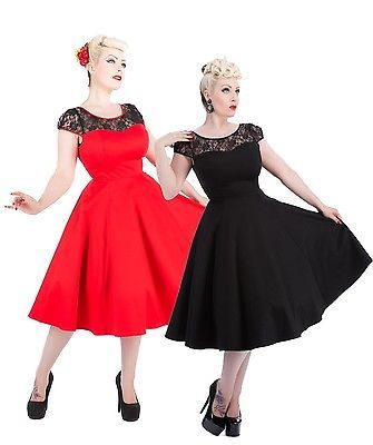 Hearts & Roses 50er Jahre Pin Up Red Mesh Petticoat Rockabilly Swing Kleid