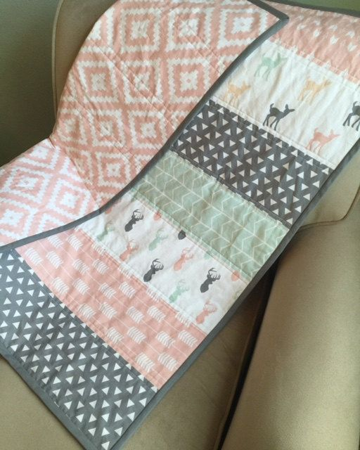 Woodland Baby Blanket, Baby Quilt, Modern Quilt, Pink, Gray, Mint, Peach, Baby girl Blanket, Deer, Arrows, Aztec,