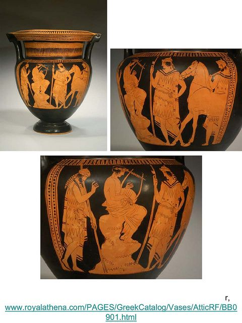 Orpheus and Thracian warriors  This one is different in that it includes a horseman