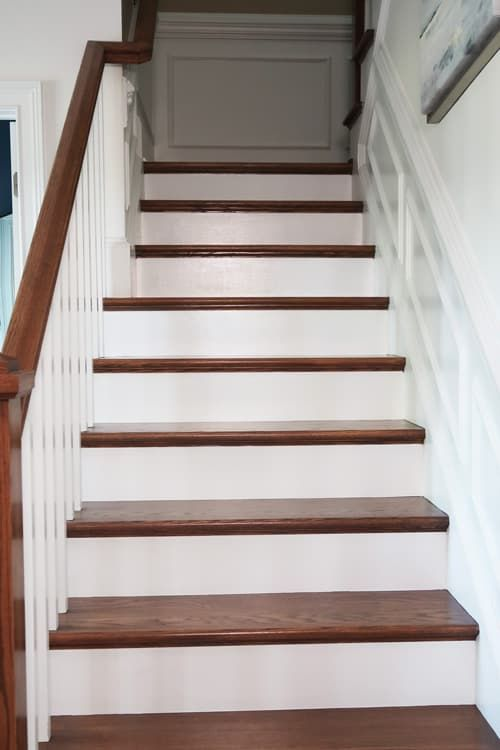 How To Prep And Paint Stained Stairs White Stairs Painted White | Painted And Stained Stairs | Easy Diy | Two Tone | Espresso Stained | Pinterest | Home