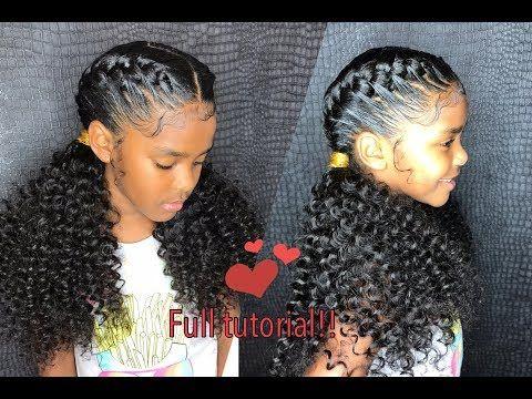 Little Girl Goddess Braids Curly Ponytail Ends Tutorial Video Black Hair Information Kids Goddess Braids Braids With Curls Hair Styles