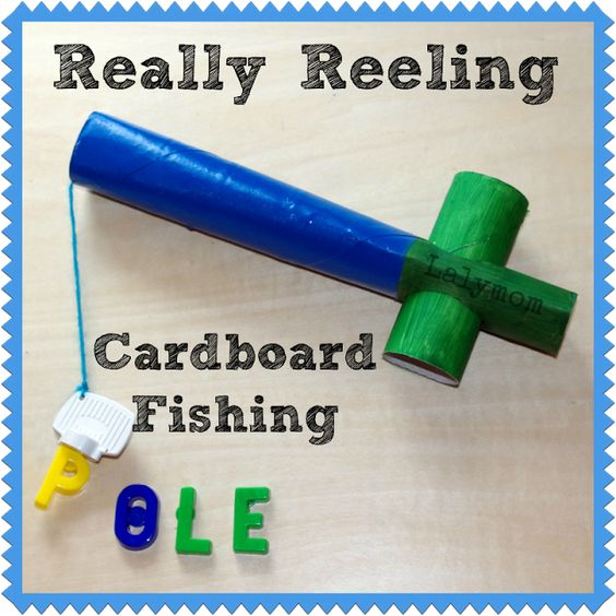 DIY Cardboard Fishing Pole for Kids by Lalymom. This great DIY magnetic fishing pole really reels up and down. What a wonderful educational learning tool ... I mean toy!