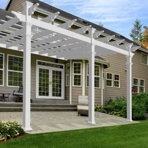 12x16 Valencia Attached Pergola Vinyl Pergola Backyard Pergola Outdoor Pergola