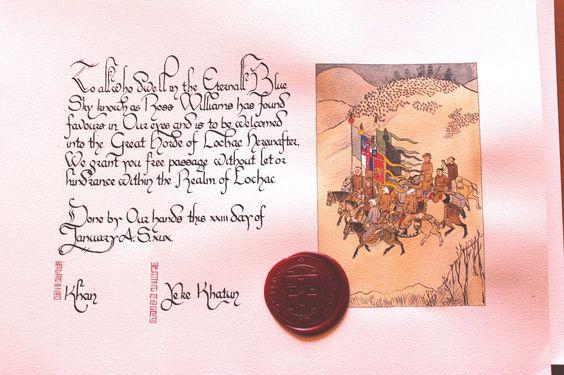 Mistress Caristiona nic Beathain the calligraphy and Tallulah Cunningham did the illumination
