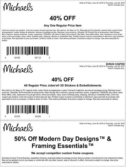 Jun 30 2015 Michaels Canada Sale Coupons Coupons Michael Michaels Coupon