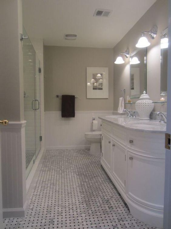 Benjamin moore revere pewter wall color a favorite for White bathroom tile paint