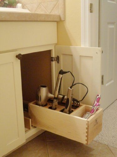 Hair dryer flat irons and curling on pinterest - Bathroom vanity storage solutions ...
