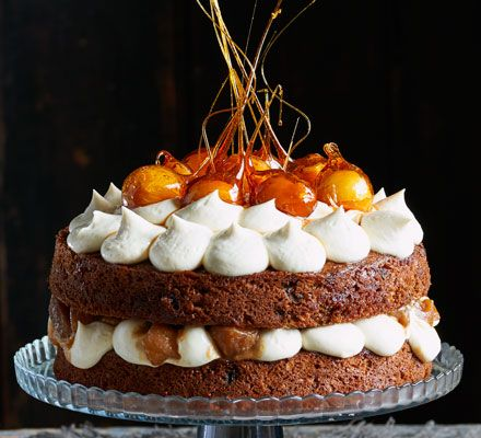Toffee apple cake: This showstopping bake is a celebration of classic apple desserts with spiced sponge, vanilla icing and a sticky caramel apple filling