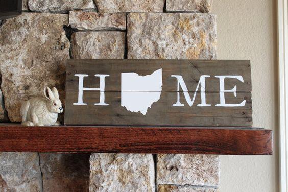 Ohio HOME Reclaimed Wood Sign, silhouette map, Buckeye, Ohio State, Ohio University, Hand-painted white, repurposed wood, OH, I Love Ohio on Etsy, $25.00