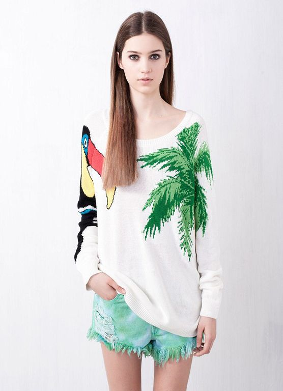 Large Parrot palm sweater