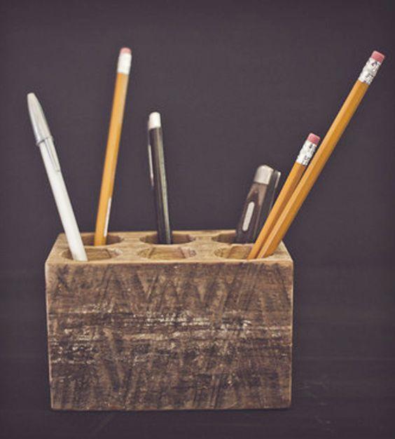 Wooden Pencil Caddy - Desk Organization