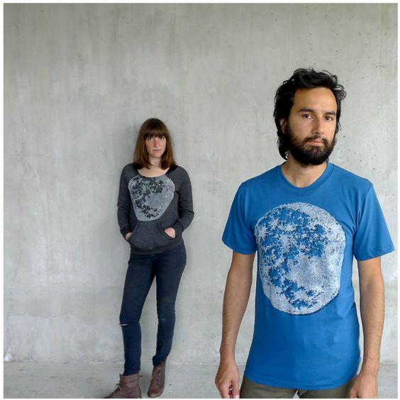 blackbirdtees/Etsy Tshirt for men - organic cotton - LARGE - full moon screenprint on American Apparel galaxy blue t shirts - mens fashion
