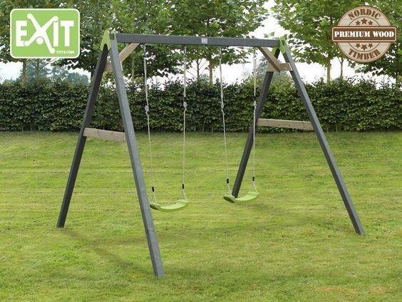 EXIT Aksent Doppelschaukel Holz Kinderschaukel Gartenschaukel Schaukelgerüst NEU