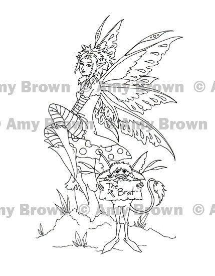 amy brown coloring pages   to Digital Download Brat Fairy Art