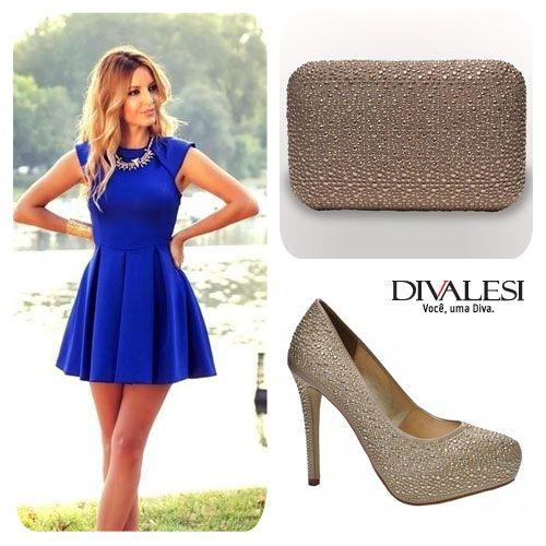 Amamos Azul e Dourado!   #bolsa #sapato #festa #brilho #fashion