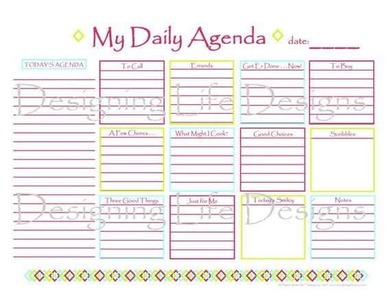 Daily Agenda Printable For Serious Planners And For The Planner
