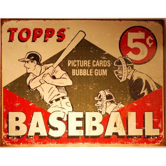 Original+Vintage+baseball+bubble+gumcards | Magnifique plaque BaseBall Topps Bubble gum vintage. Format 40.5 x 31 ...