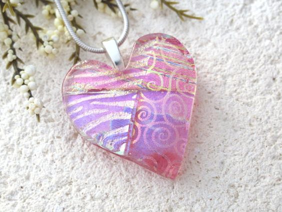 Pink Heart Necklace Dichroic Jewelry Fused Glass by ccvalenzo