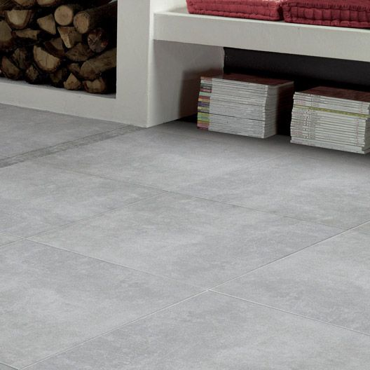 Carrelage int rieur factory artens en gr s gris 60 x 60 for Carrelage sol interieur gris clair