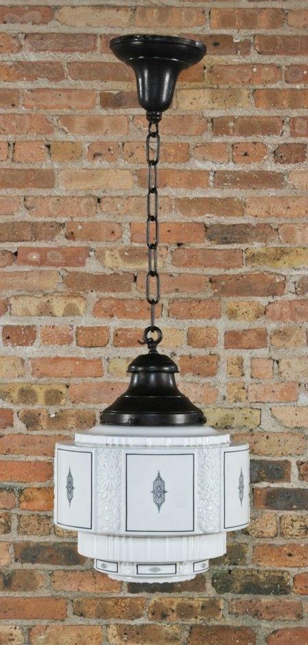 1920s american art deco style wedding cake milk glass interior electric pendant light with black enameled design accent harry alter lighting co alter lighting