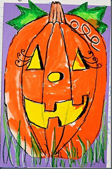 Secondary Colors - Jack-o-lanterns! Paint, black oil pastel, purple paper, and varnish! Easy and fun.