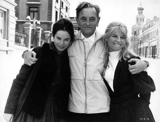 Geraldine Chaplin, David Lean and Julie Christie during filming of Doctor Zhivago