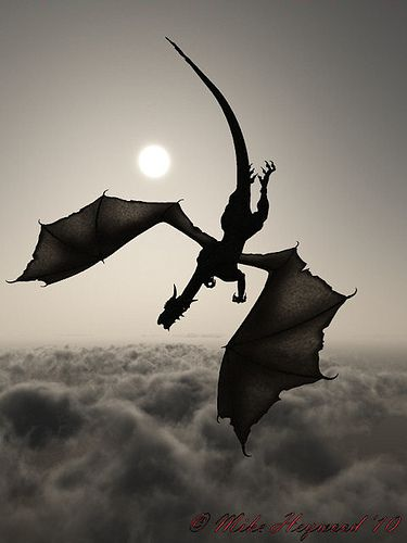 Dragon silhouette in flight