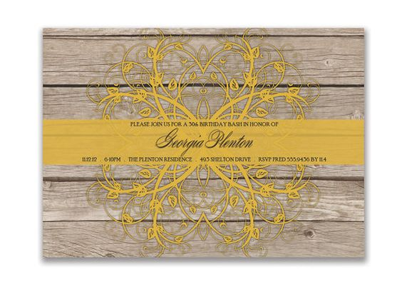 Georgia Rustic Classic Birthday Surprise Party Wedding or Bridal Baby Shower Invitation. Wood Yellow. DIY Printable Invite Design or I Print