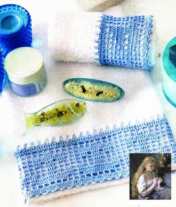 Tejidos artesanales puntillas para toallas de mano - Hacer puntillas de ganchillo ...