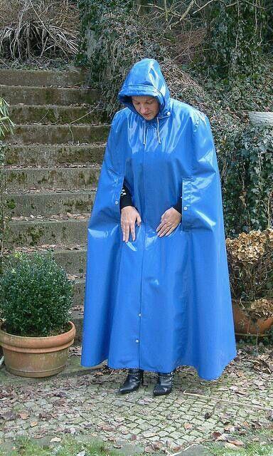 Long blue rubber cape | RainCapes | Pinterest | Blue and Capes
