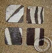 Zebra hide coasters