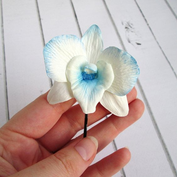 Dendrobium Orchid Hair Pin Blue Orchid Hairpin Wedding Etsy Orchid Hair Pins Wedding Hair Flowers Bridal Hair Flowers