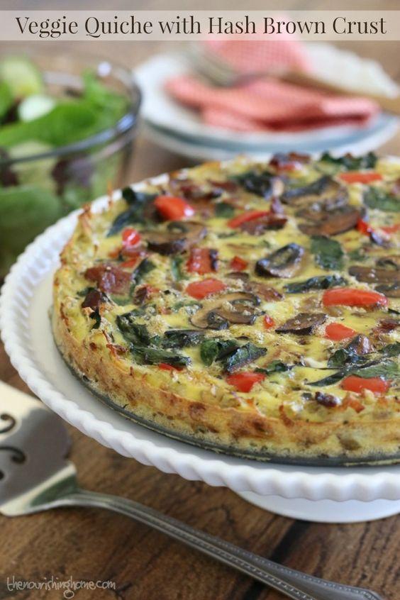 Veggie Quiche with Hash Brown Crust (GF, DF) | Recipe | Veggie Quiche ...