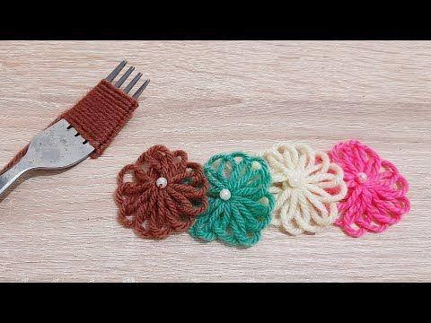 طريقة عمل وردة جميلة التطوير اليدوي Super Woolen Flower Ideas Hand Embroidery Design Easy Trick Youtu Hand Embroidery Design Woolen Flower Diy And Crafts
